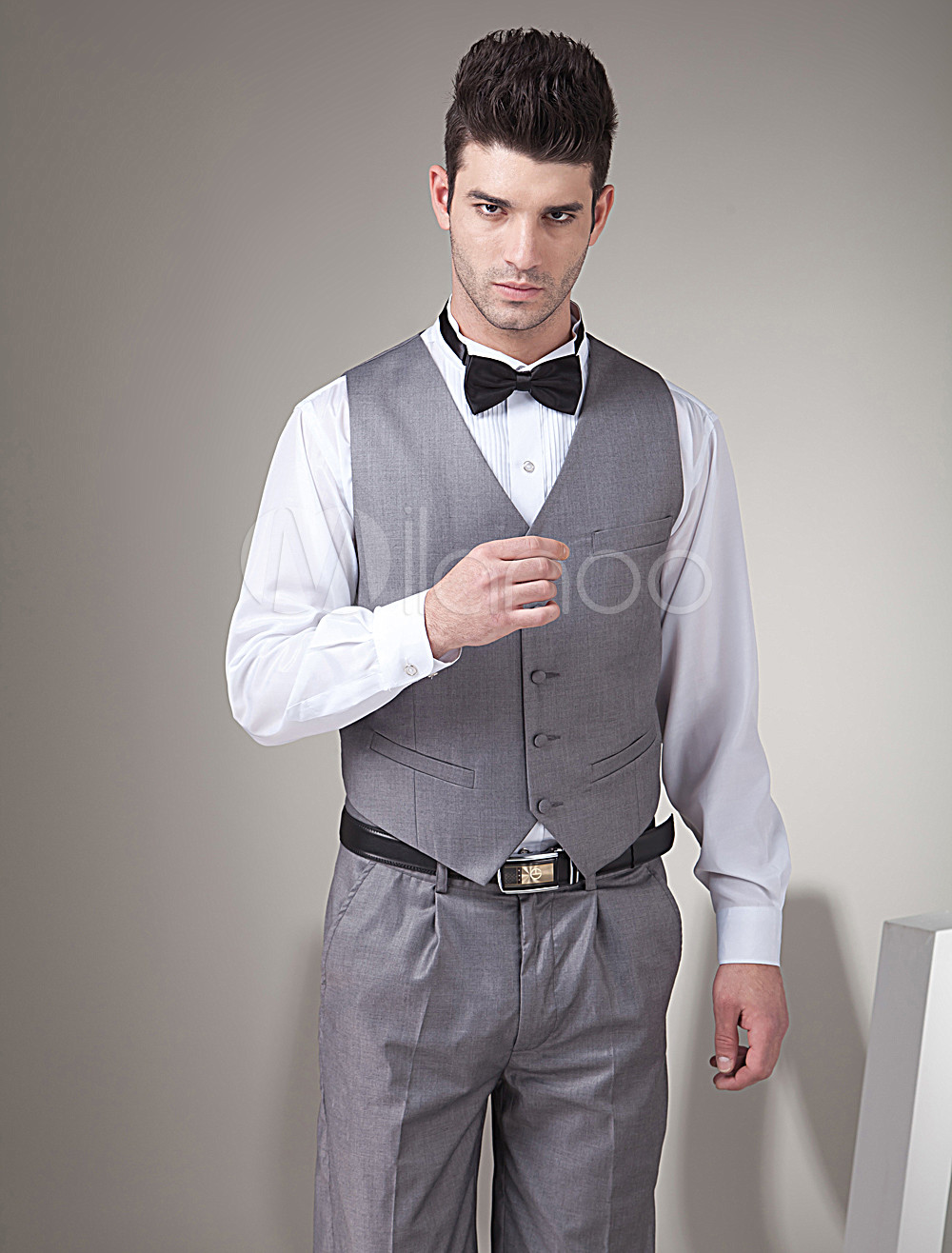 Retro Grey Satin Buttons V-Neck Wedding Groom Vest