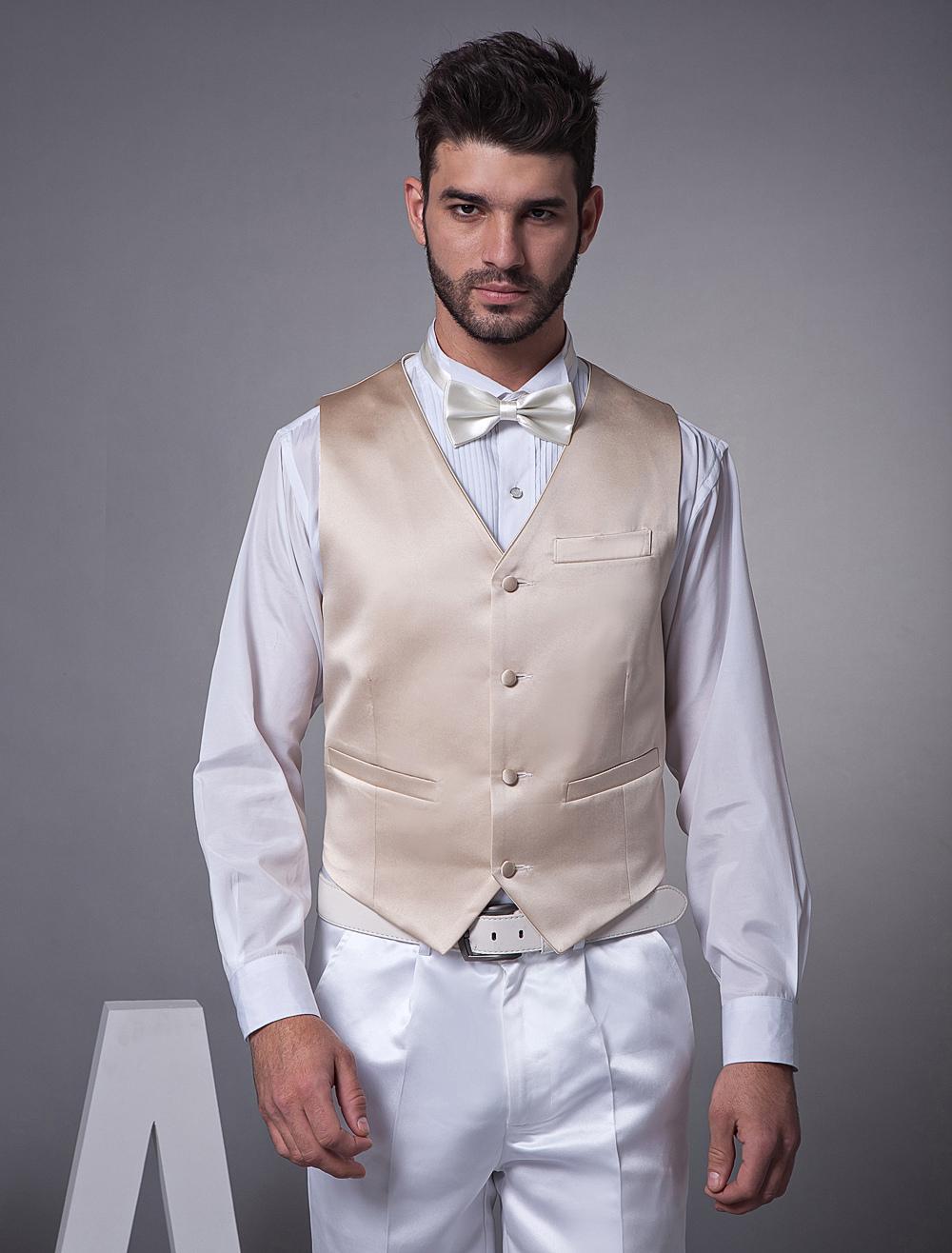Noble Champagne Satin Buttons V-Neck Wedding Groom Vest