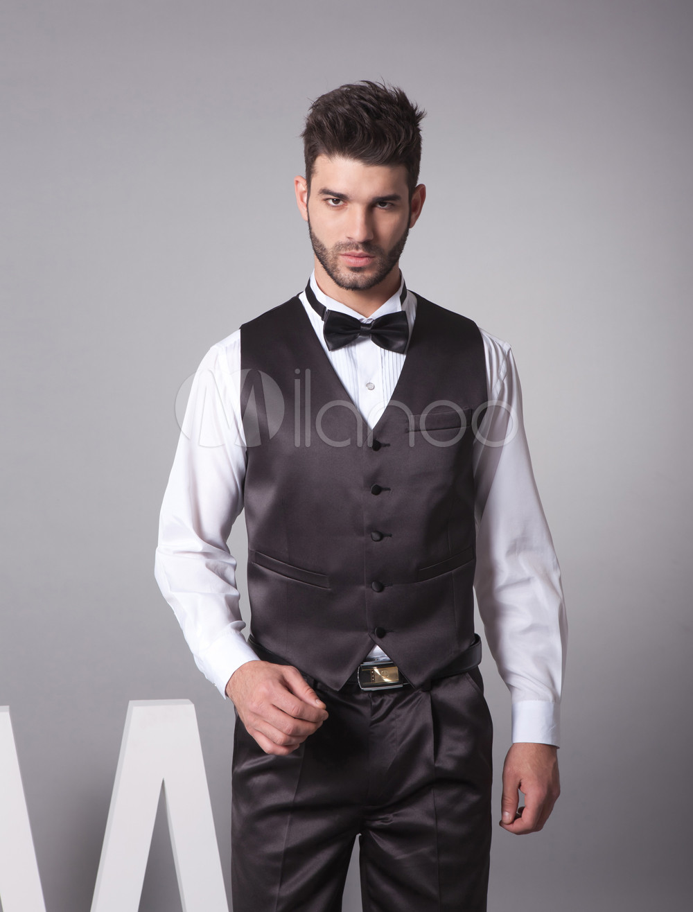 Buy Shiny Black Satin Buttons V-Neck Tailored Fashion Groom Vest for $39.99 in Milanoo store