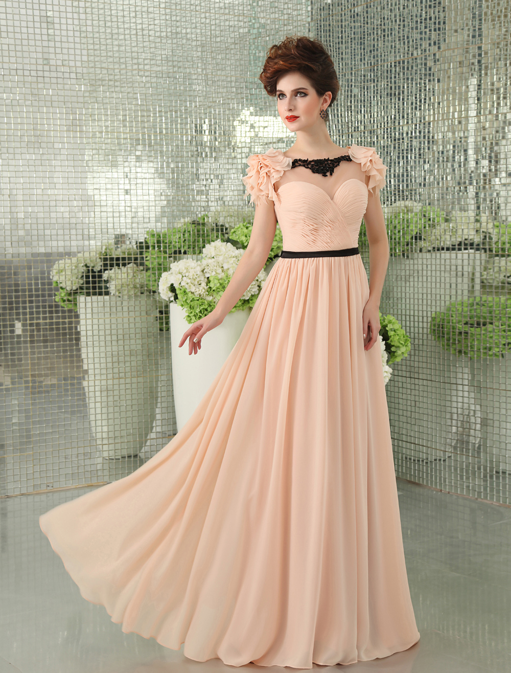 Light Pink Lace Sash Backless A-Line Chiffon Evening Dress