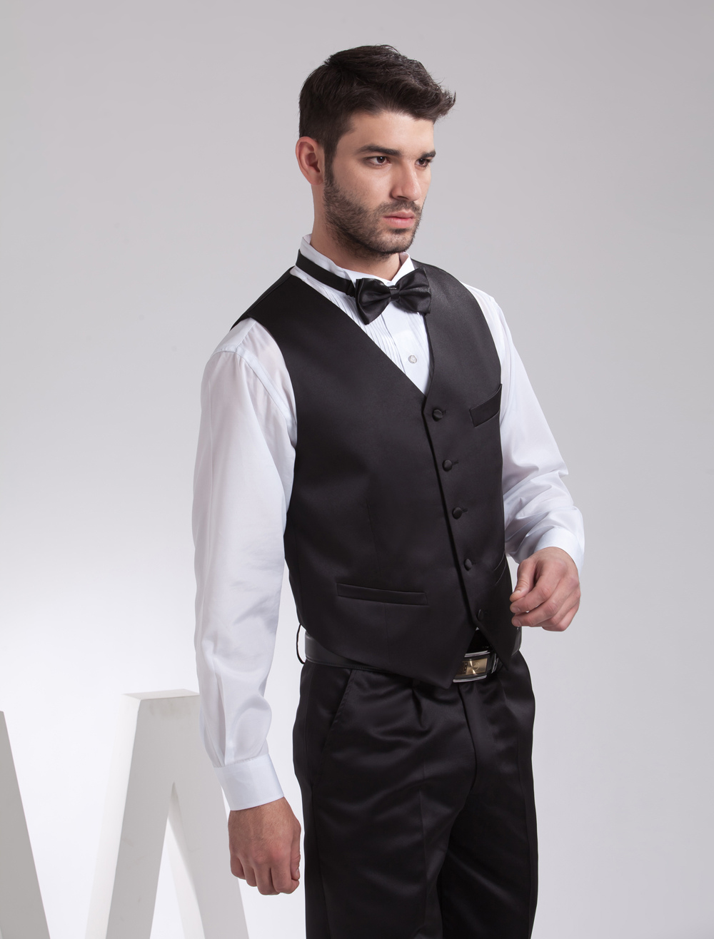 Buy Concise Black Satin Buttons V-Neck Tailored Wedding Groom Vest for $39.99 in Milanoo store