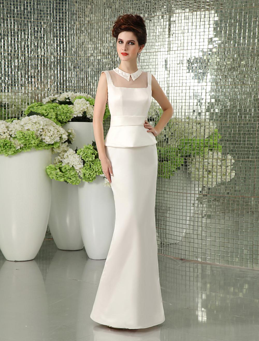 Shaping Ivory Sheath Beading Wedding Dress  Milanoo