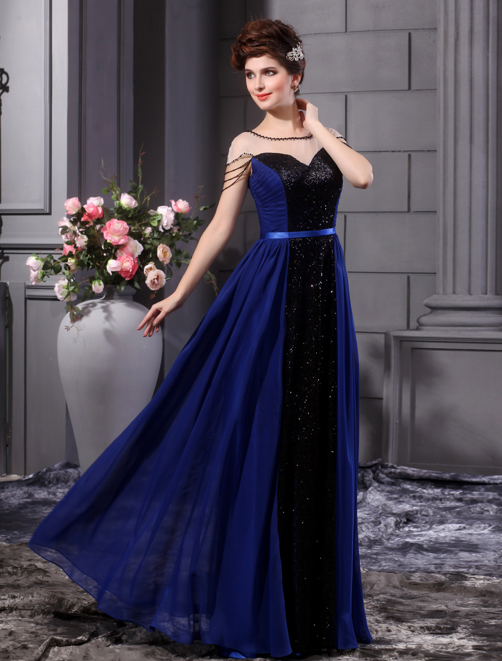 A-line Royal Blue Chiffon Sequin Floor-Length Fashion Prom Dress Milanoo