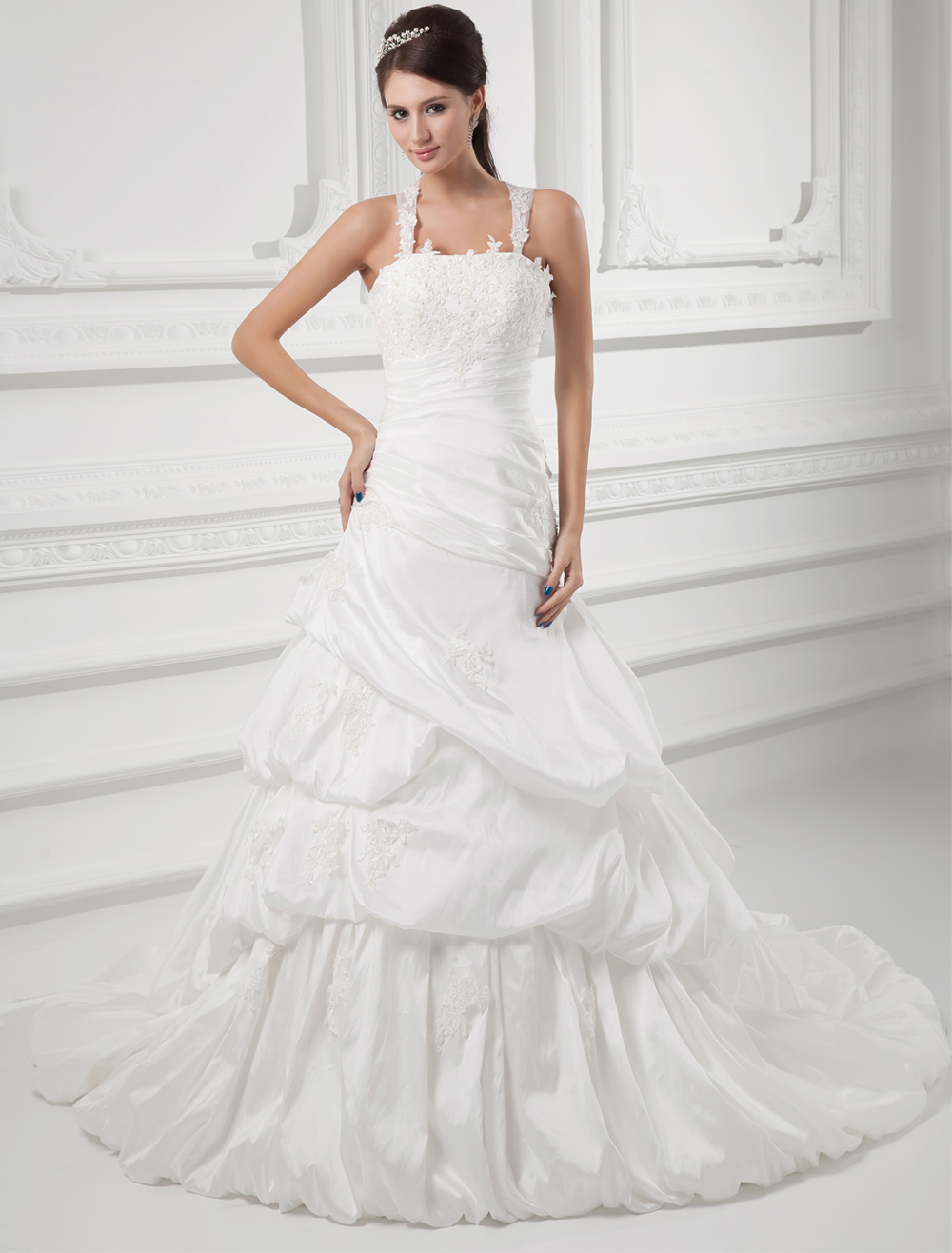 Classic Ivory Ball Gown Beading Taffeta Bridal Wedding Gown