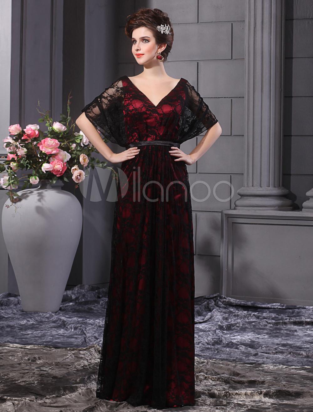 Elegant Black Lace V-Neck Evening Dress Milanoo