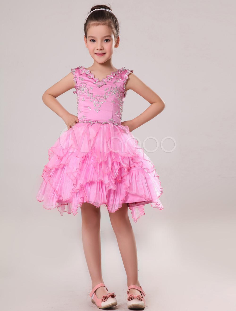 Vestido para las niñas de flores de satén rosado con escote en V ...