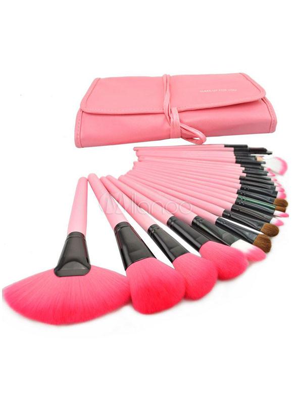 Sweet Pink Wool Material 24 Pcs Professional Make Up Brush Set