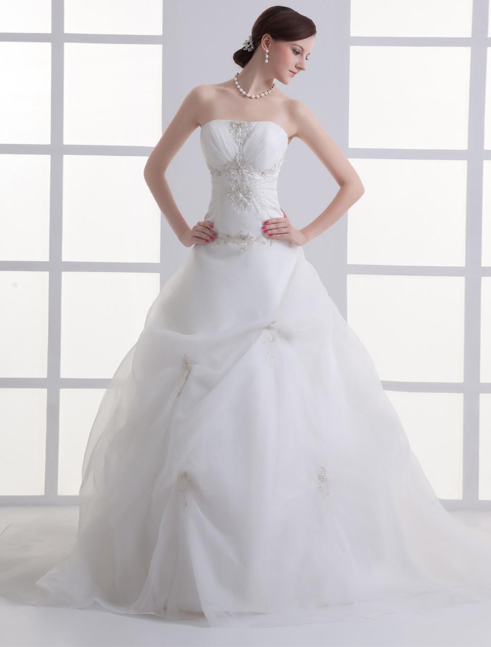 Milanoo / Ivory Strapless Beading Tulle Bridal Wedding Dress