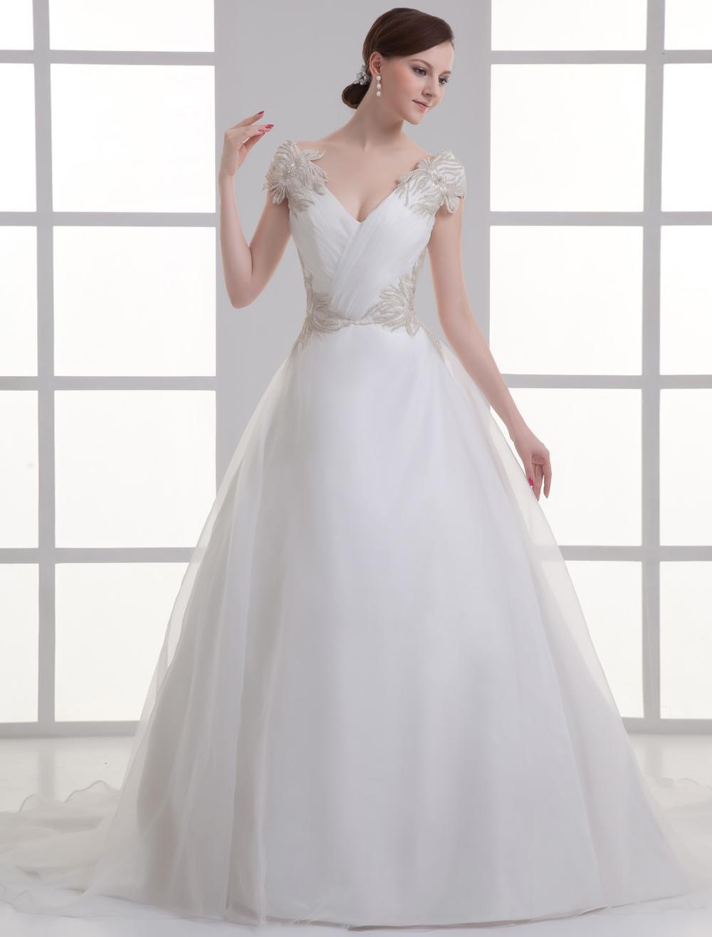 Ivory V-Neck Off-The-Shoulder Beading Organza Wedding Gown