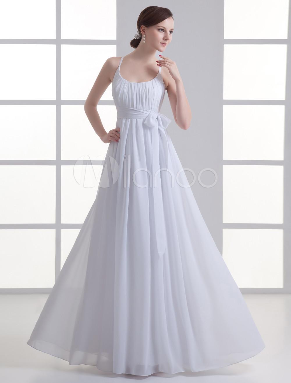 White A-line Jewel Neck Bow Chiffon Bridal Wedding Dress