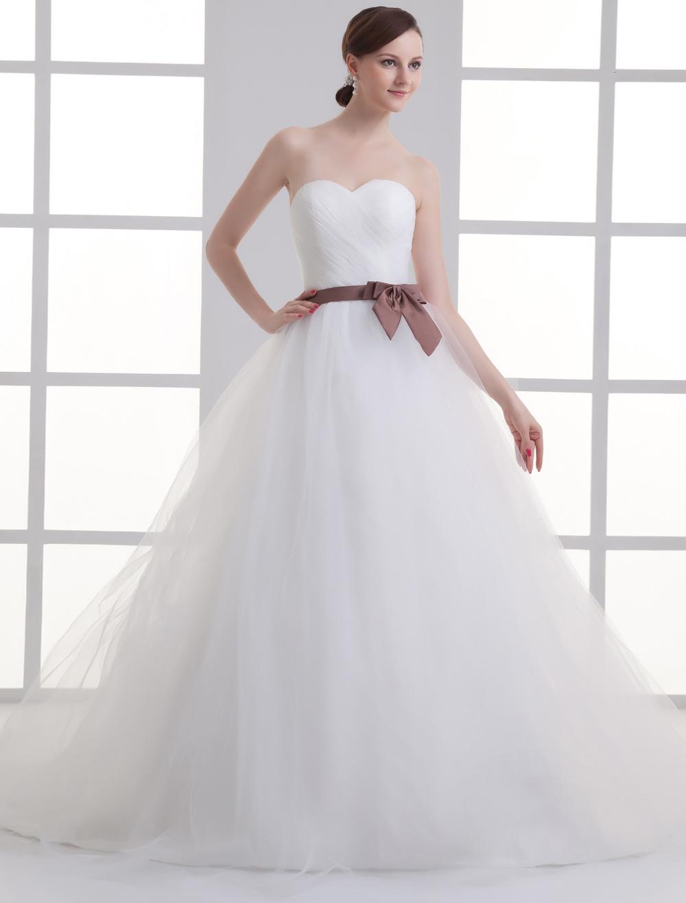 Sweetheart Neck Strapless Sash Net Bridal Wedding Gown