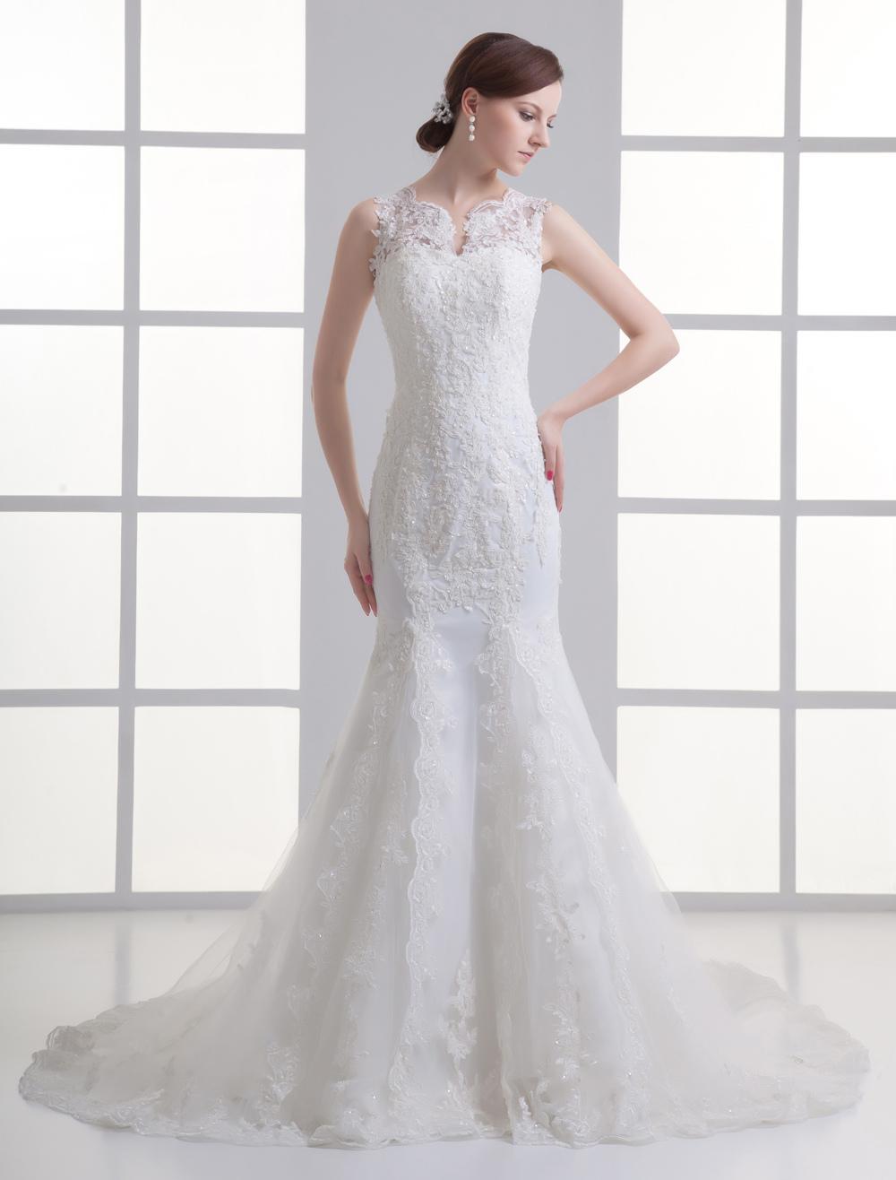 Ivory Mermaid Beading Lace Wedding Dress For Bride