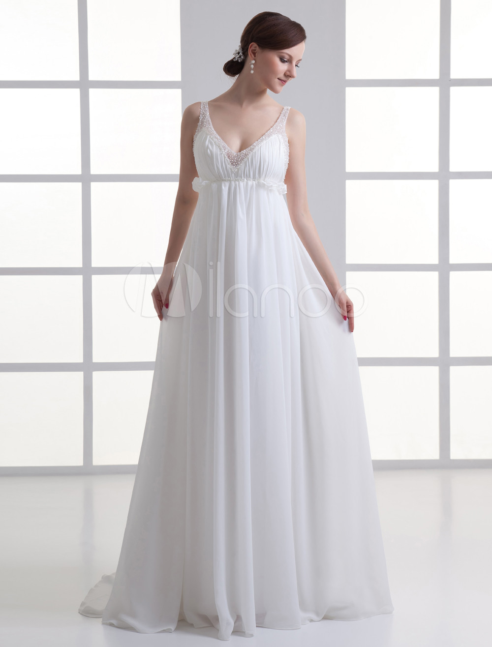 Ivory A-line Spaghetti Strap Beading Chiffon Bridal Wedding Gown