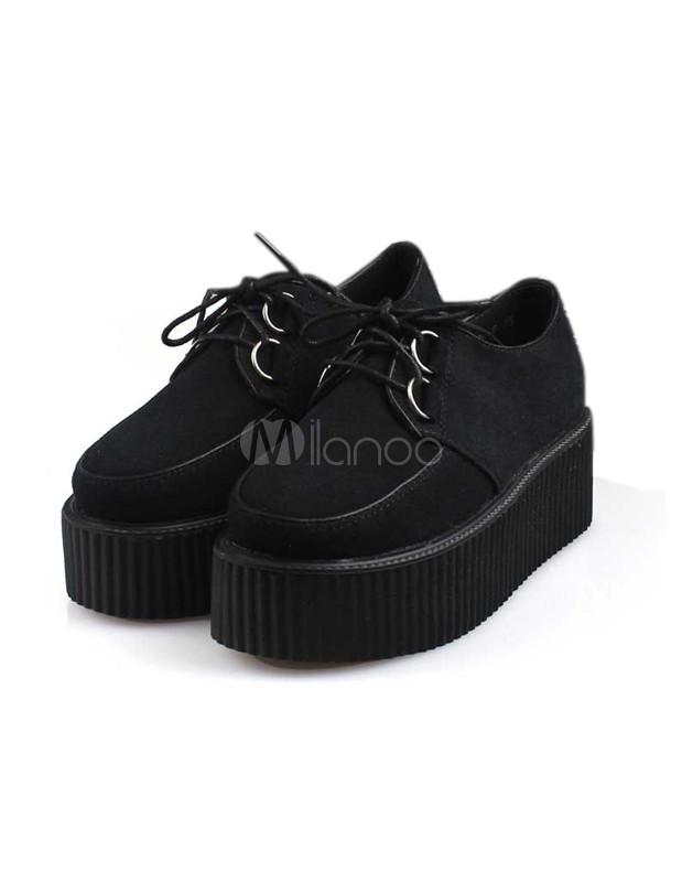 Chaussures plates avec plateforme punk à bout rond en tissu de terry  noir et lacets,