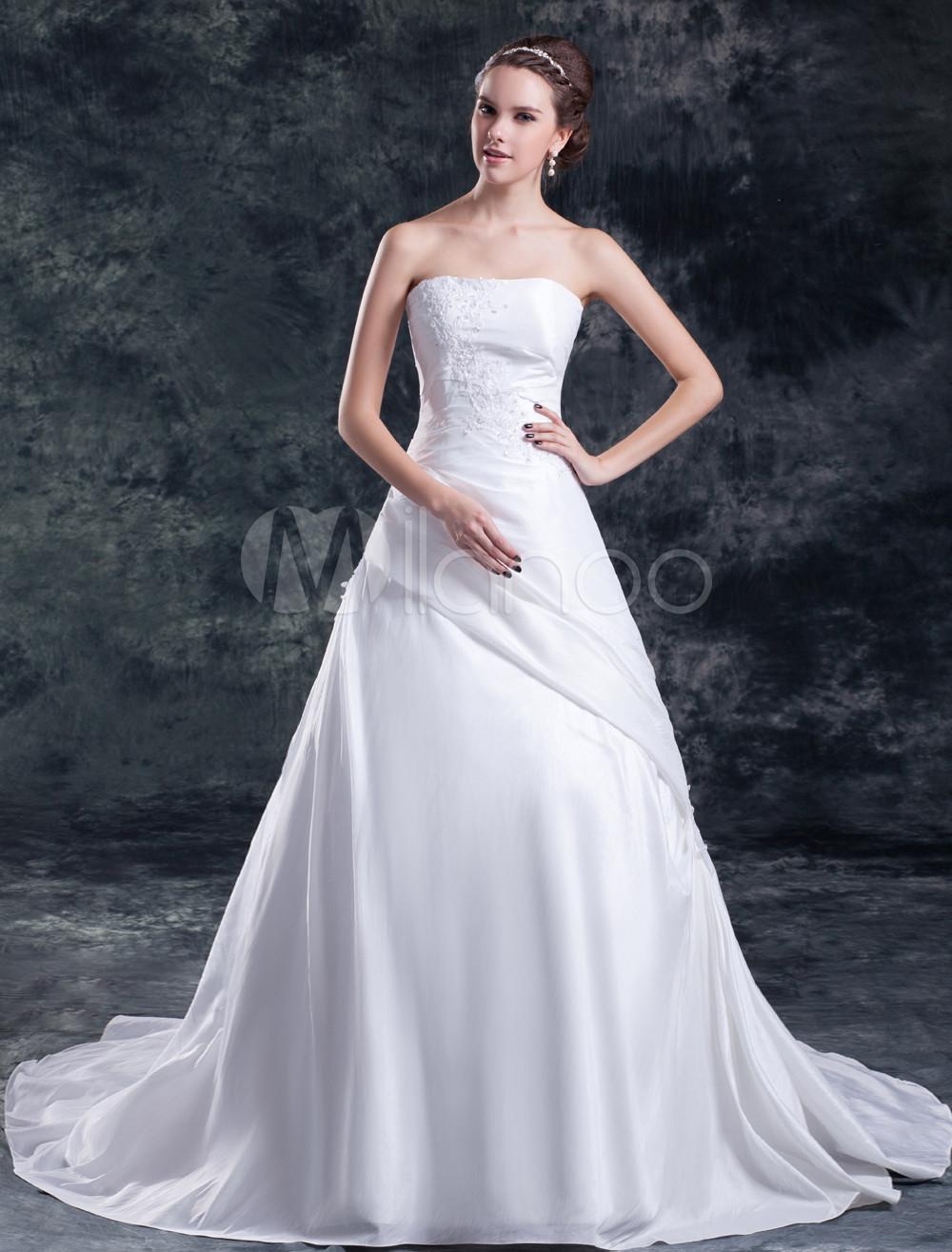 Delux White Ball Gown Beading Taffeta Bridal Wedding Gown
