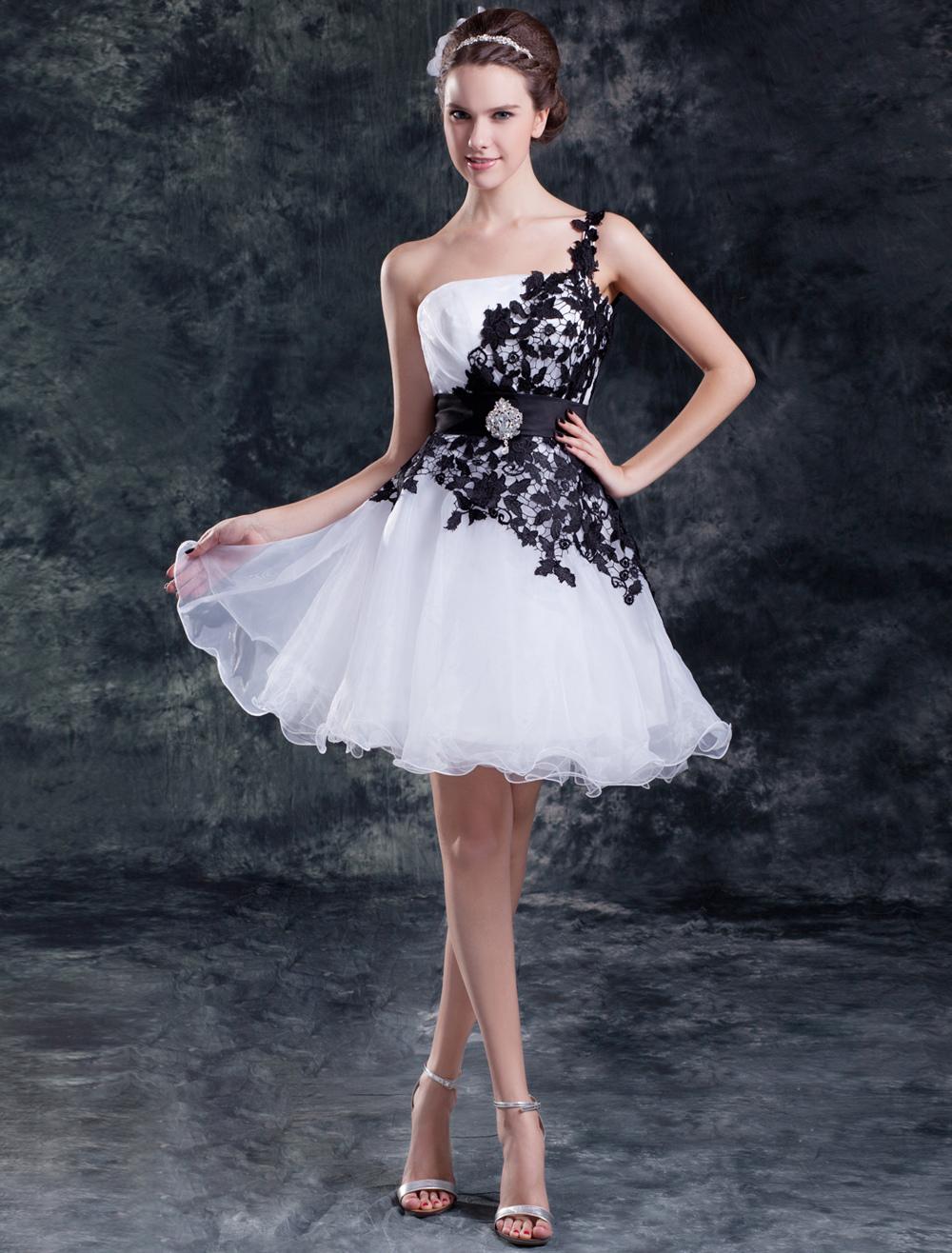 66a6f52951e2 Abito da sposa bianco organza monospalla vestito da ballo corto mini ...