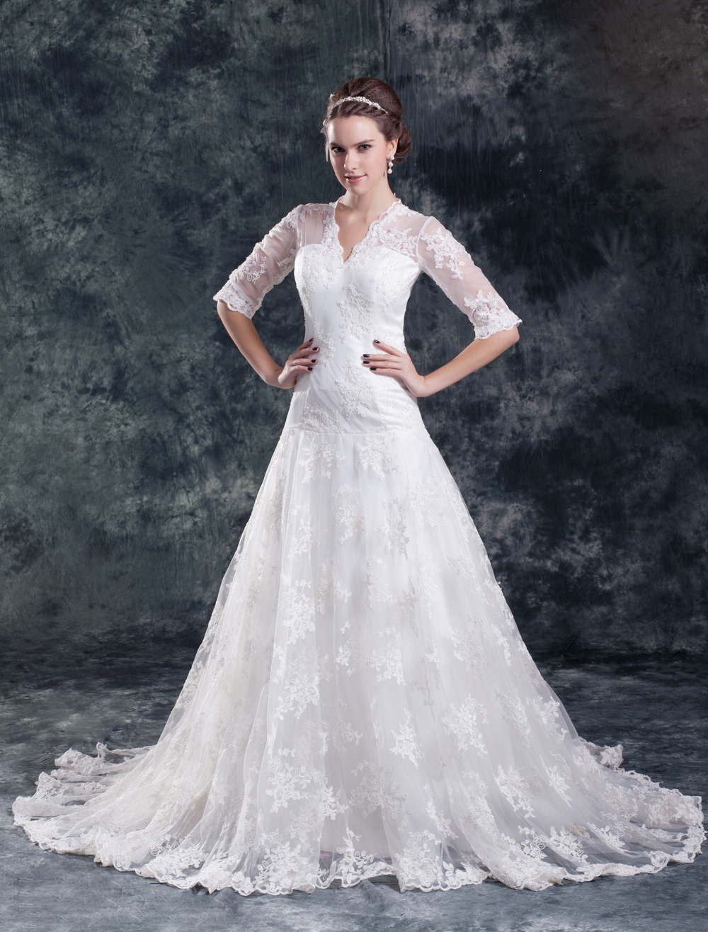 Modern White V-Neck Halter Beading Lace Bridal Wedding Gown