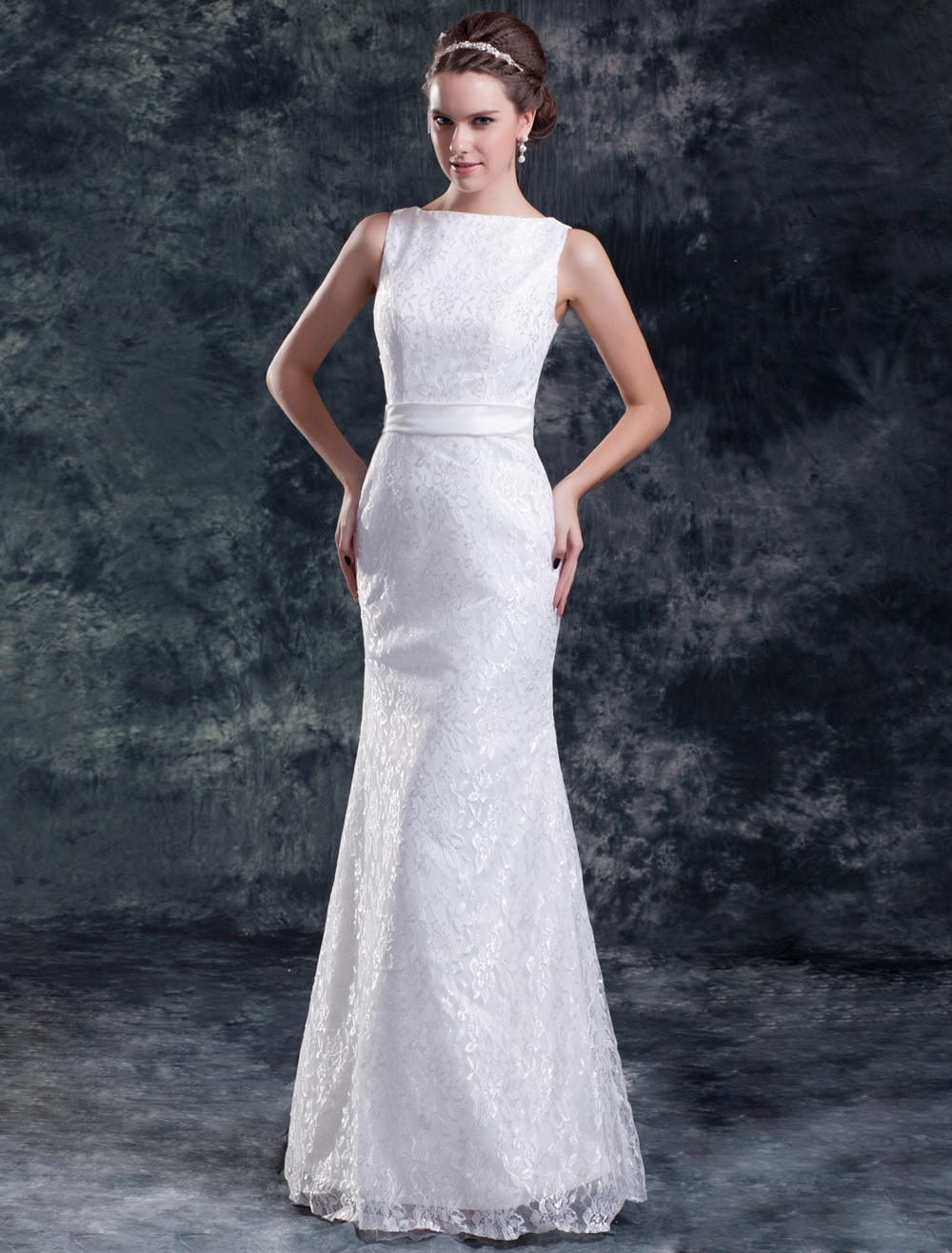 Chic White Sheath Bateau Neck Sash Lace Bride 39 S Wedding