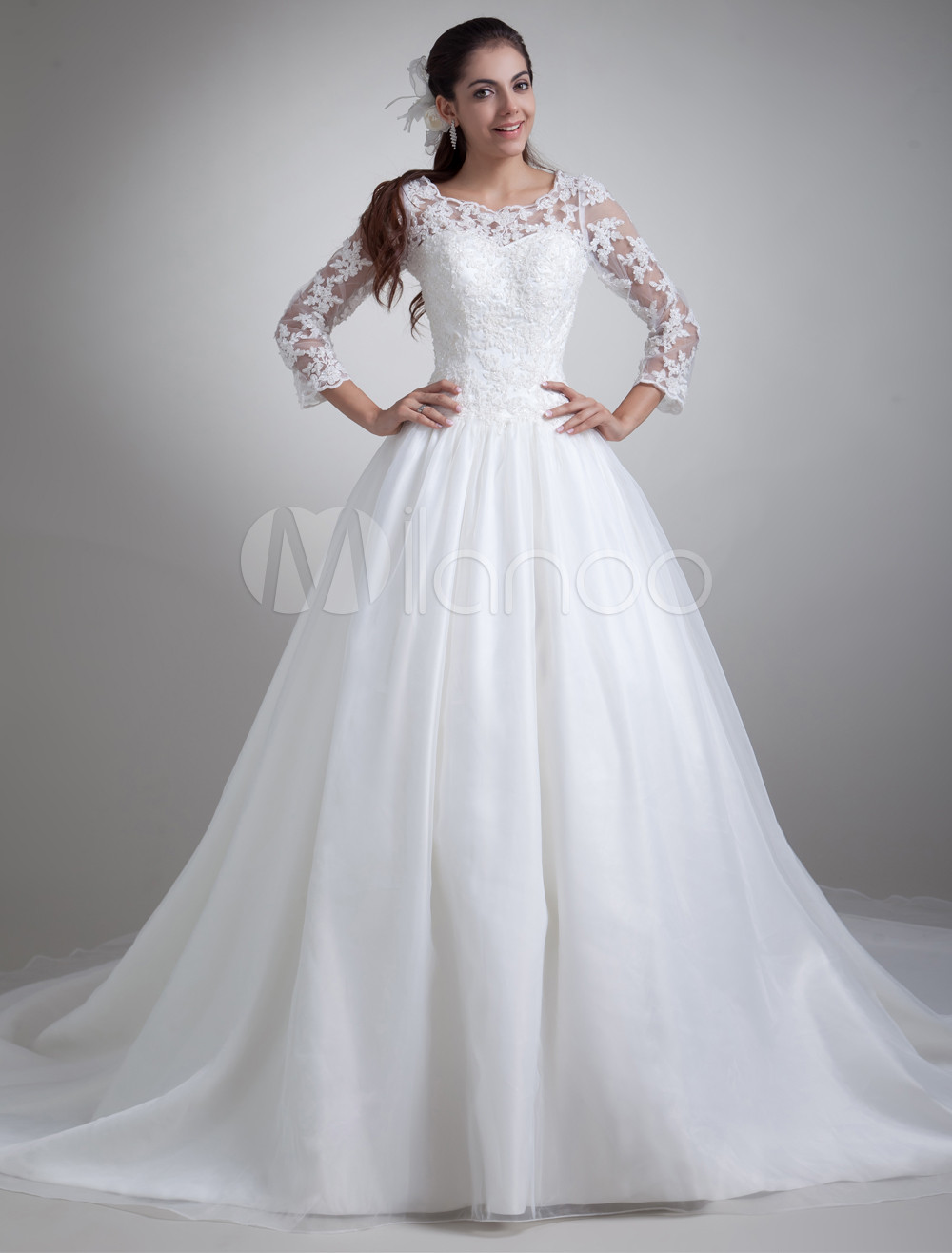 Beautiful White Jewel Neck Wedding Dress For Bride