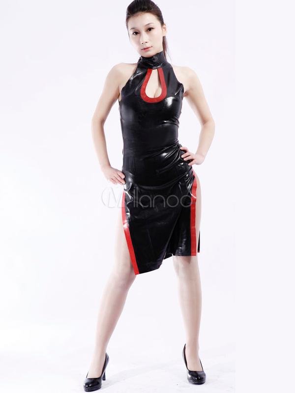 Halloween Vintage Black Side Split Unisex Latex Dress Halloween