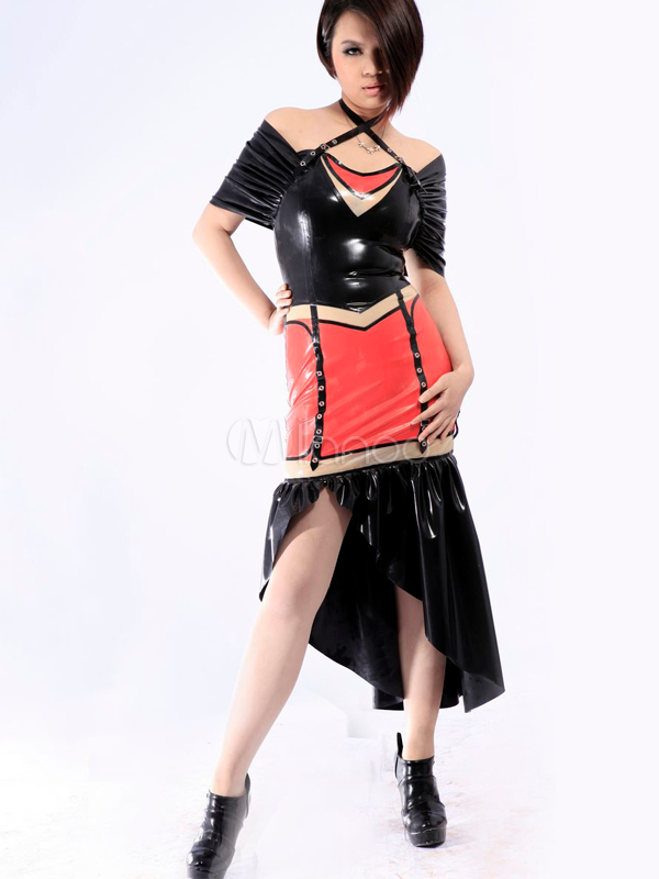 Multi Color Off The Shoulder Unisex Latex Low High Dress