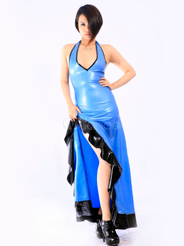 Halloween Multi Color Side Split Halter Unisex Latex Dress Halloween