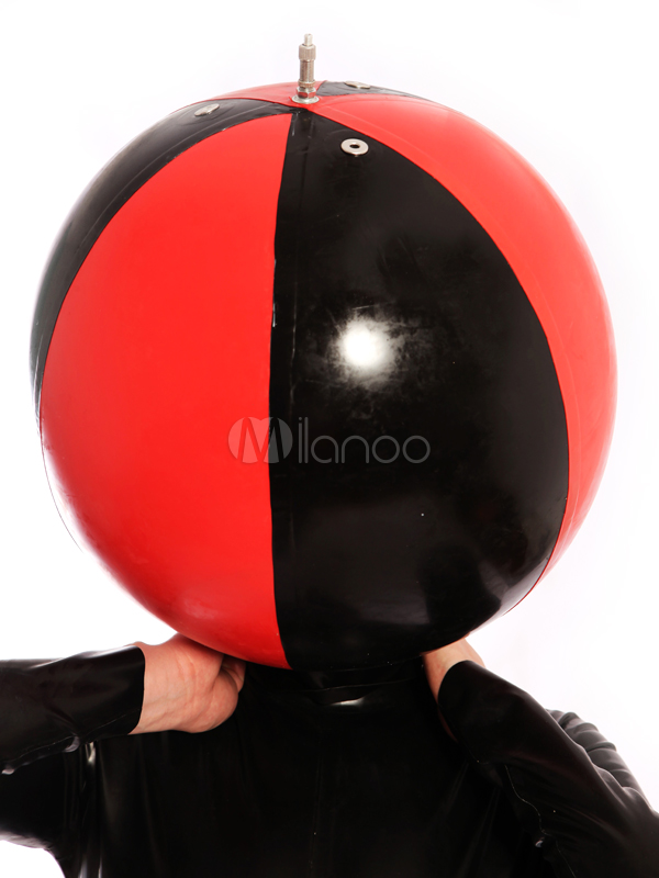 Halloween Black and Red Round Ball Shape Unisex Latex Hood Halloween