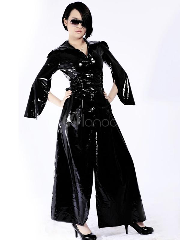 Halloween Cool Black Unisex Front Split Lace Up Latex Catsuit Halloween
