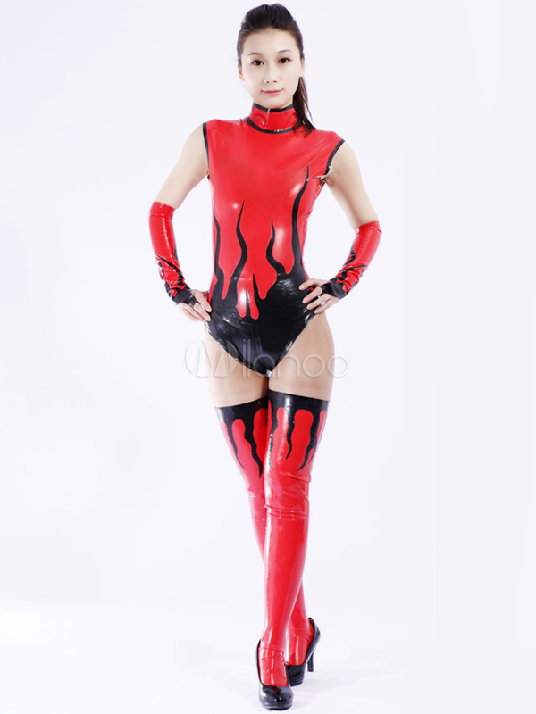 Halloween Multi Color Unisex Shaping Latex Catsuit Halloween