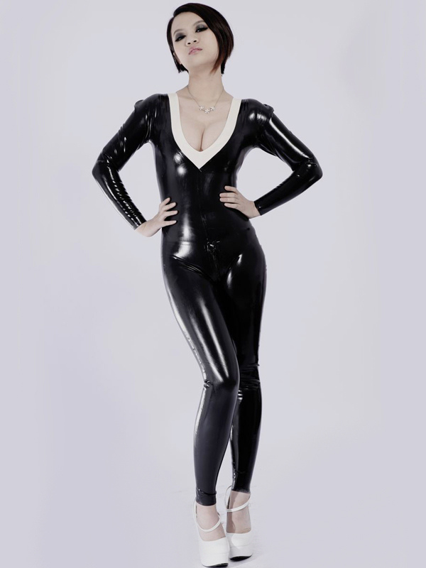 Halloween Hot Black V neck Unisex Bodysuit Latex Catsuits Halloween