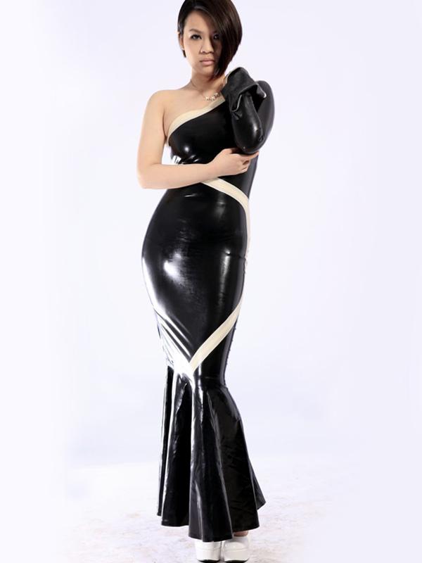Halloween Black One Shoulder Mermaid Trumpet Unisex Latex Dress Halloween