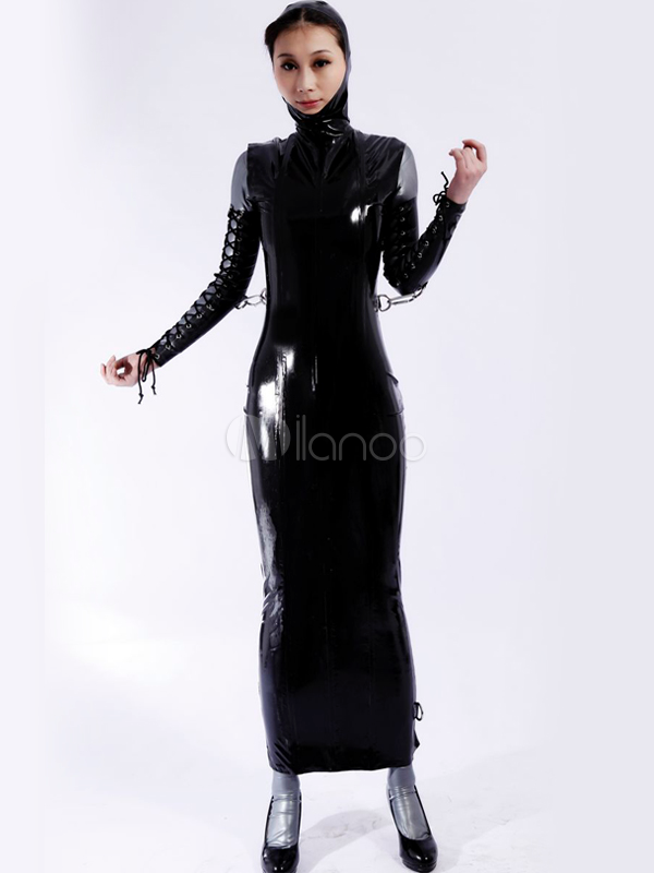 Halloween Unique Black Stand Collar Unisex Latex Dress Halloween
