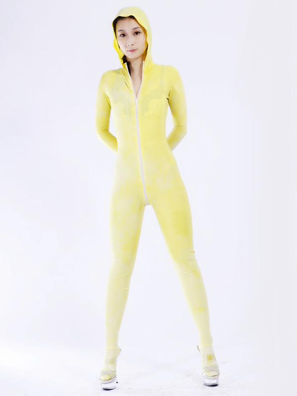 Halloween Concise Yellow Unisex Bodysuit Latex Catsuits Halloween