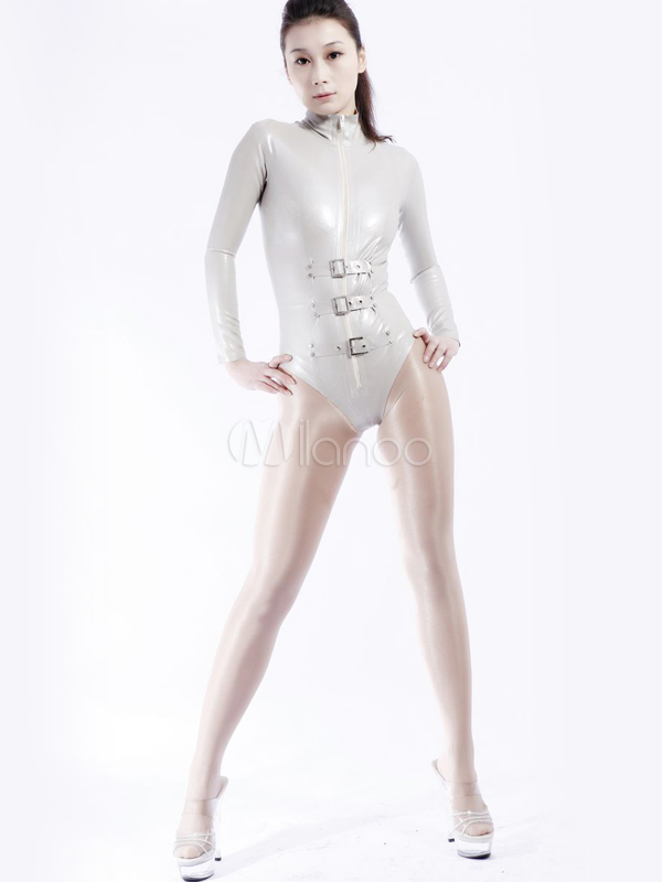 Halloween Sexy Silver Latex Catsui Unisex Buckles Shaping Bodysuit Halloween