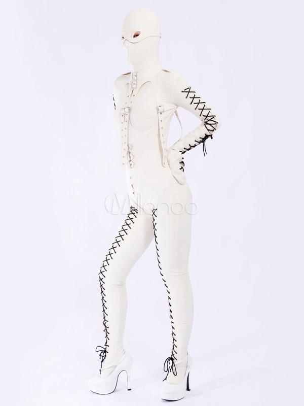Halloween Stylish White Unisex Bodysuit Latex Catsuit Halloween