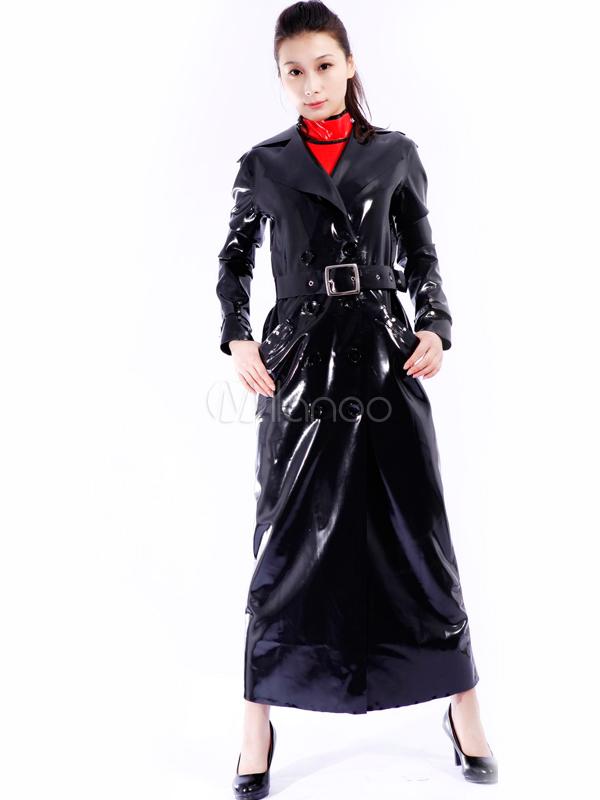 Halloween Black Unisex Unique Latex Coat Halloween