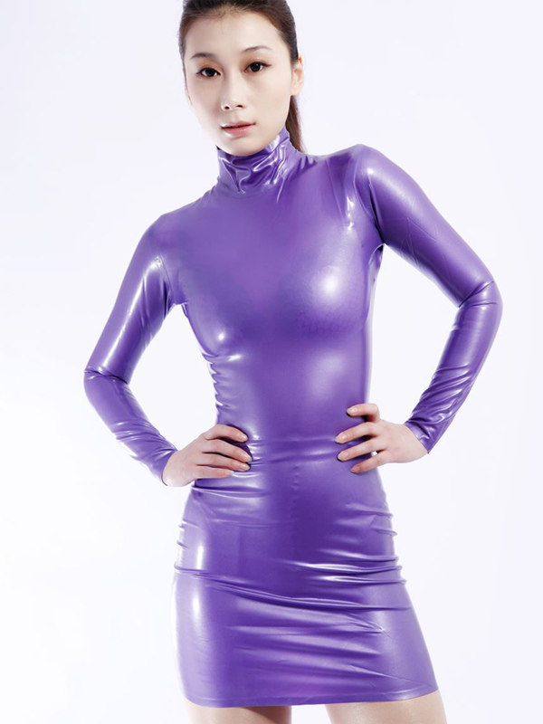 Halloween Women's Purple Leotard Bodysuit Dress Costume Latex Stand Collar Long Sleeves Halloween