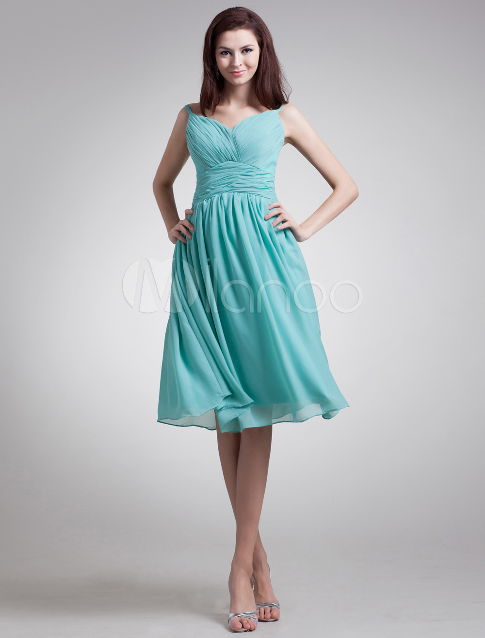 Buy Chiffon Cocktail Dress Turquoise Sweetheart Ruched Prom Dress A Line Sleeveless Knee Length Bridesmaid Dress for $86.44 in Milanoo store