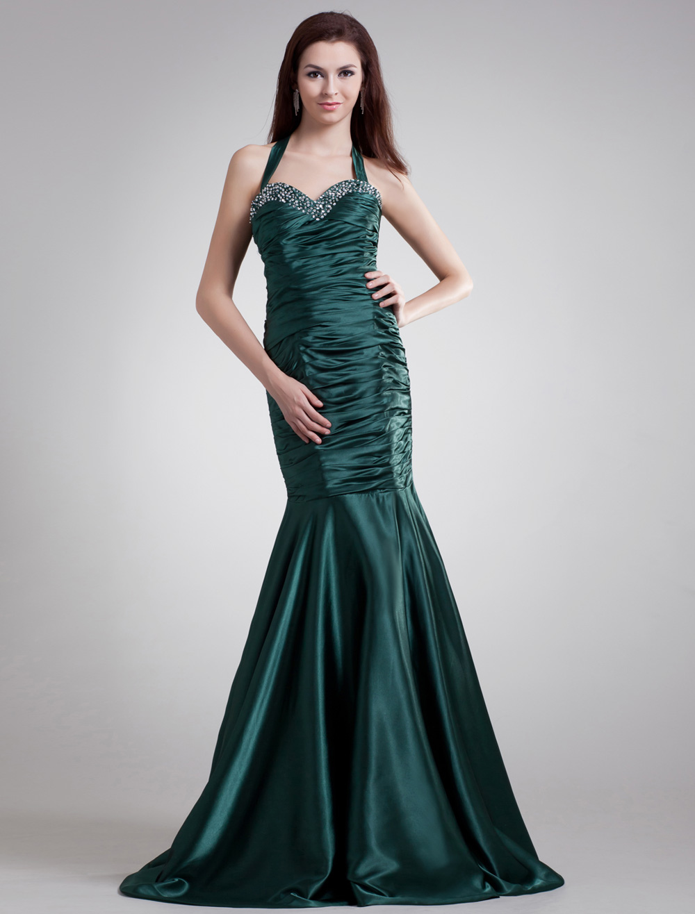 Charming Dark Green Halter Beading Ball Gown Evening Dress