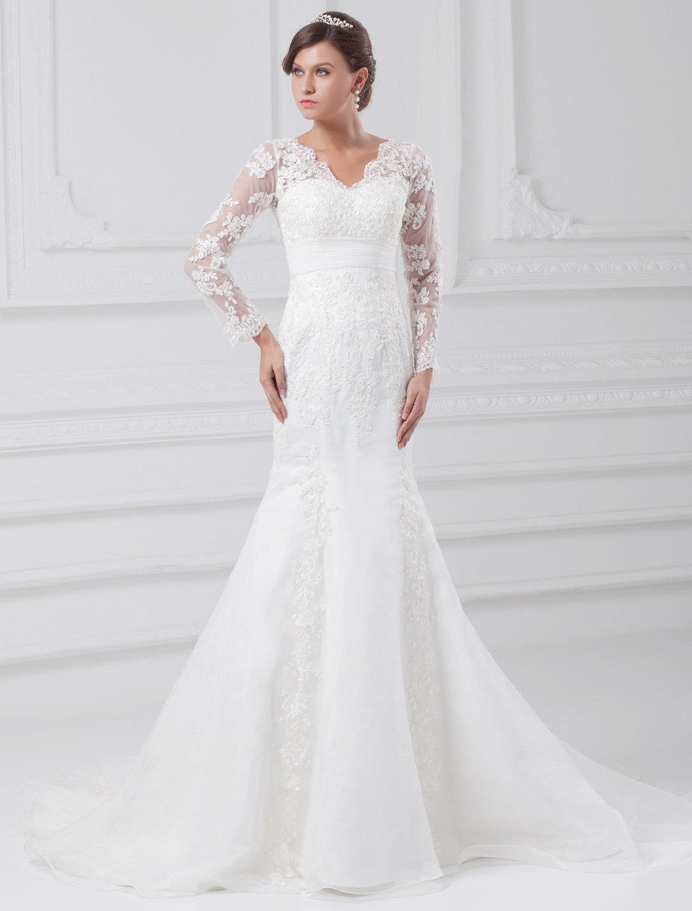 White Wedding Dress Mermaid Lace Zipper Applique Wedding Gown