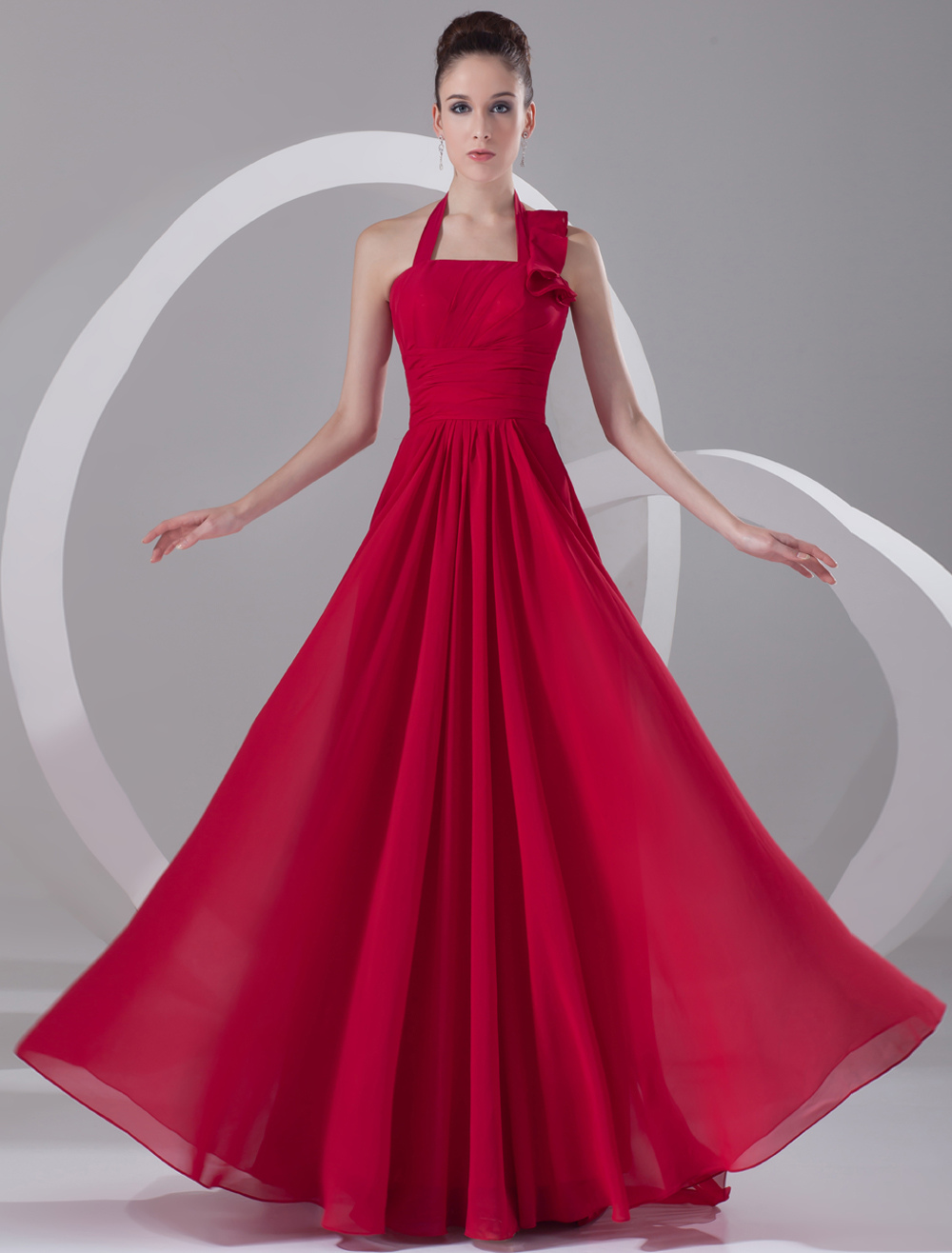 Buy Wine Red Chiffon Cascading Ruffle Halter Women's Evening Dress for $120.55 in Milanoo store