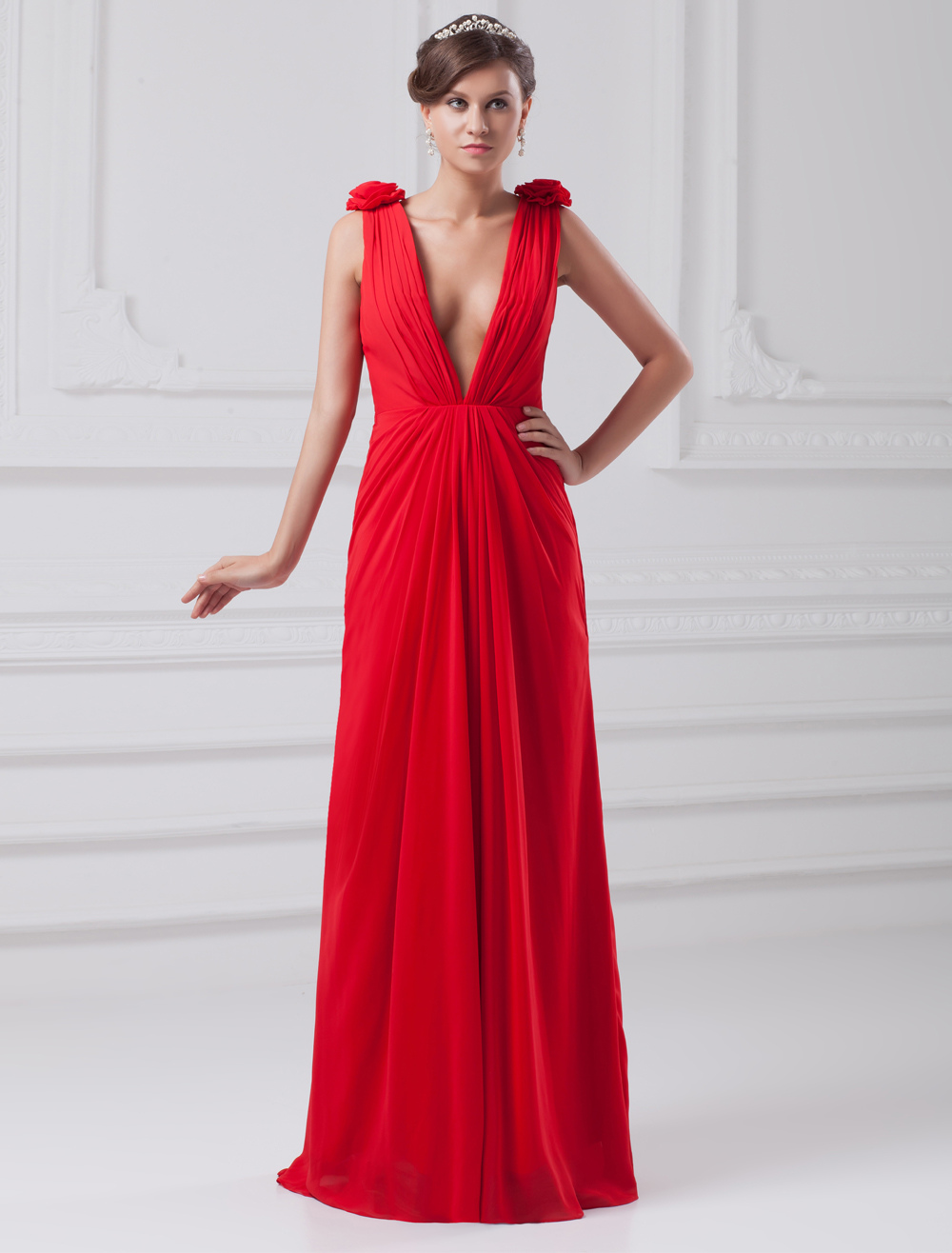 Chic Red Chiffon Floral V-Neck Fashion Evening Dress