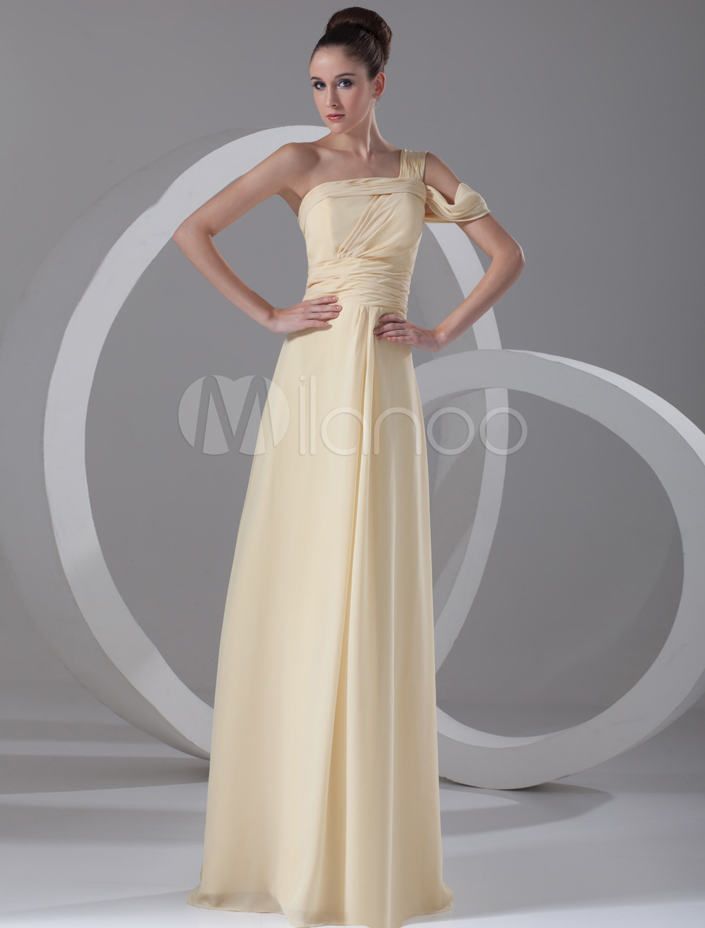 Buy Chic Daffodil Chiffon Cascading Ruffle One-Shoulder Sexy Evening Dress for $108.89 in Milanoo store