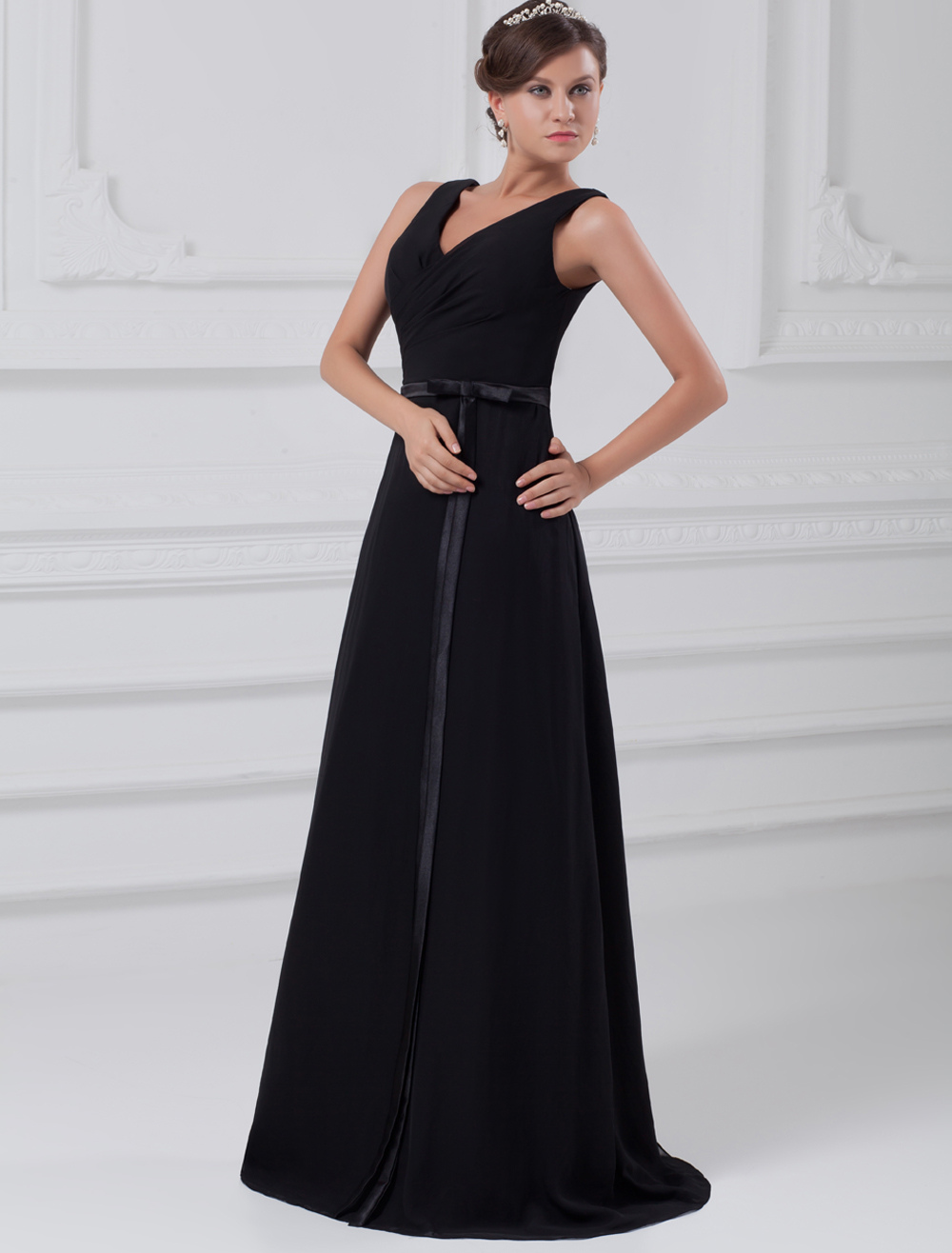 Buy Chic Black Chiffon Bow V-Neck Women's Evening Dress for $119.99 in Milanoo store