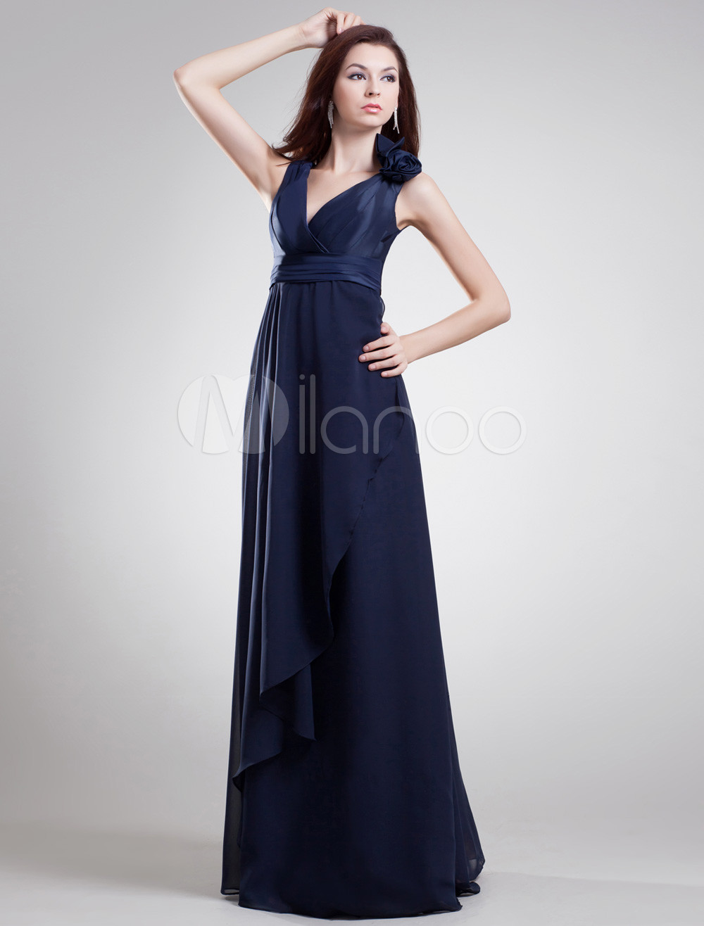 Buy Chic Dark Navy Chiffon Floral V-Neck Sexy Evening Dress for $119.99 in Milanoo store