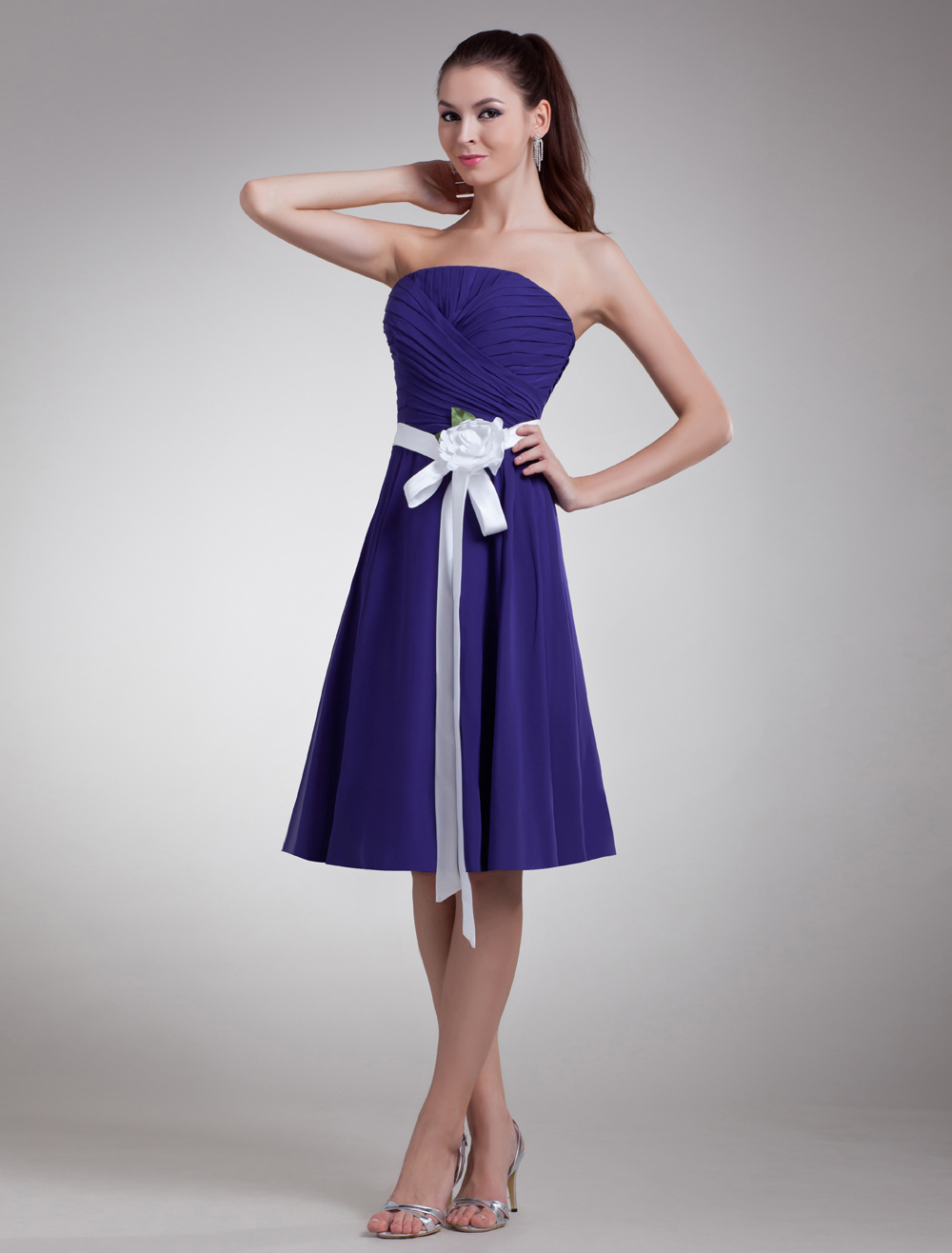 Buy Chiffon Bridesmaid Dress Royal Purple Strapless Short Prom Dress Flower Ribbon Sash Knee Length Cocktail Dress for $90.24 in Milanoo store