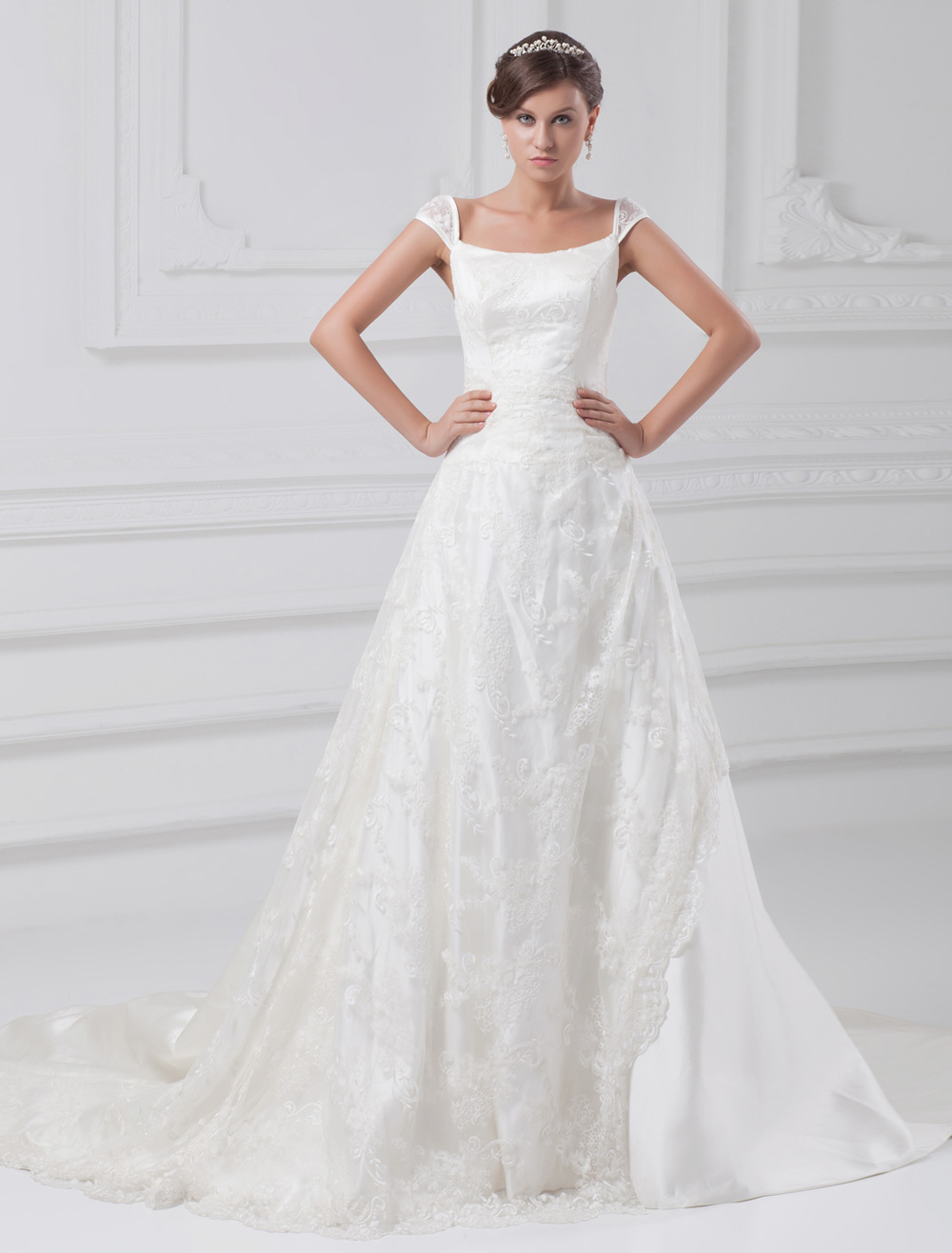Ivory A-line Off-The-Shoulder Embroidered Taffeta Bridal Wedding Dress