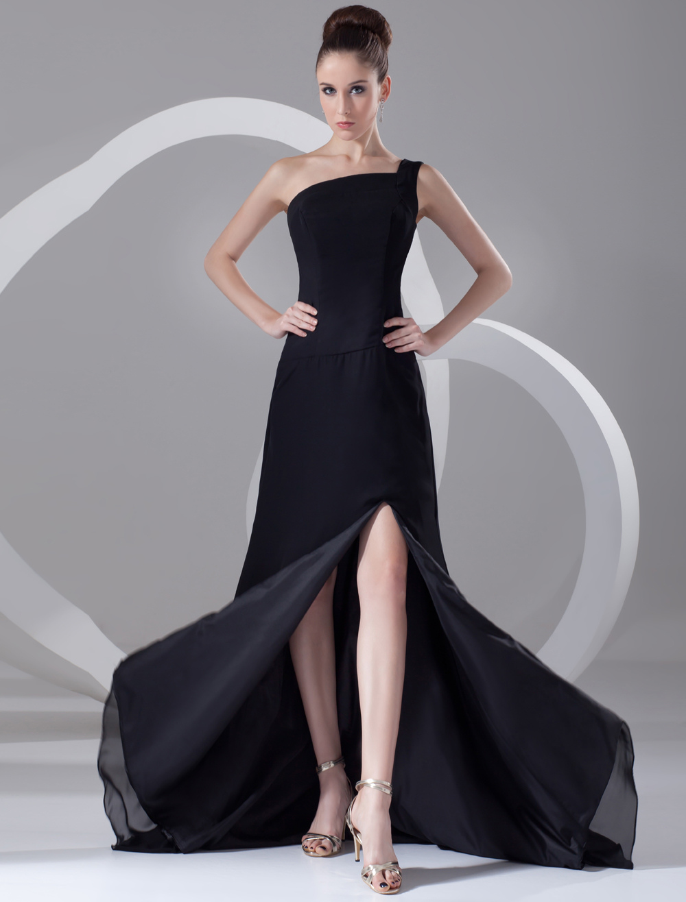 Buy Chic Black Chiffon Tiered One-Shoulder Sexy Evening Dress for $112.49 in Milanoo store