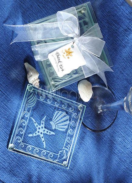 White Wedding Glass Coaster Shell Starfish Print Wedding Favors