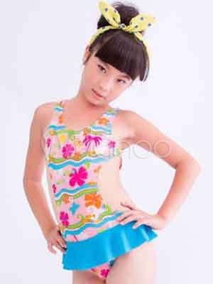 c5c55c1595 Sweet Blue Peplum Ruffles Floral Print Polyester One Piece Girls  Swimwear-No.  ...